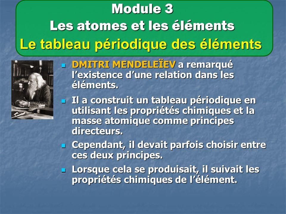 Module 3 Les atomes et les éléments Le tableau périodique des éléments DMITRI MENDELEÏEV a remarqué lexistence dune relation dans les éléments.