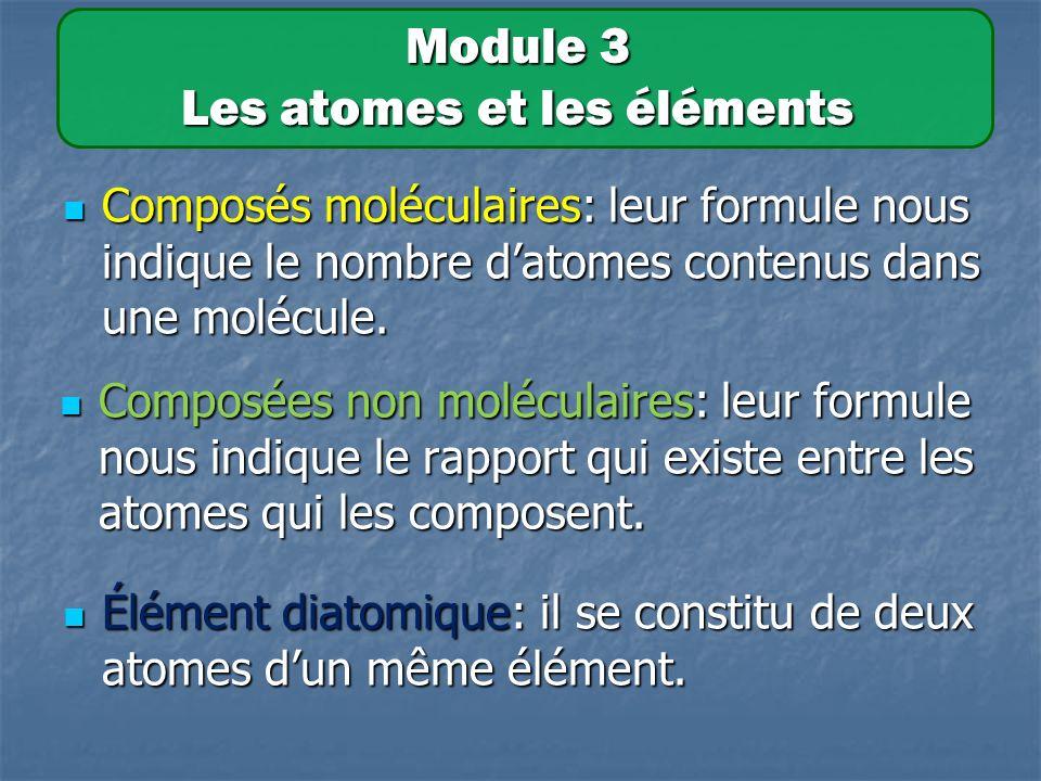 Composés moléculaires: leur formule nous indique le nombre datomes contenus dans une molécule.