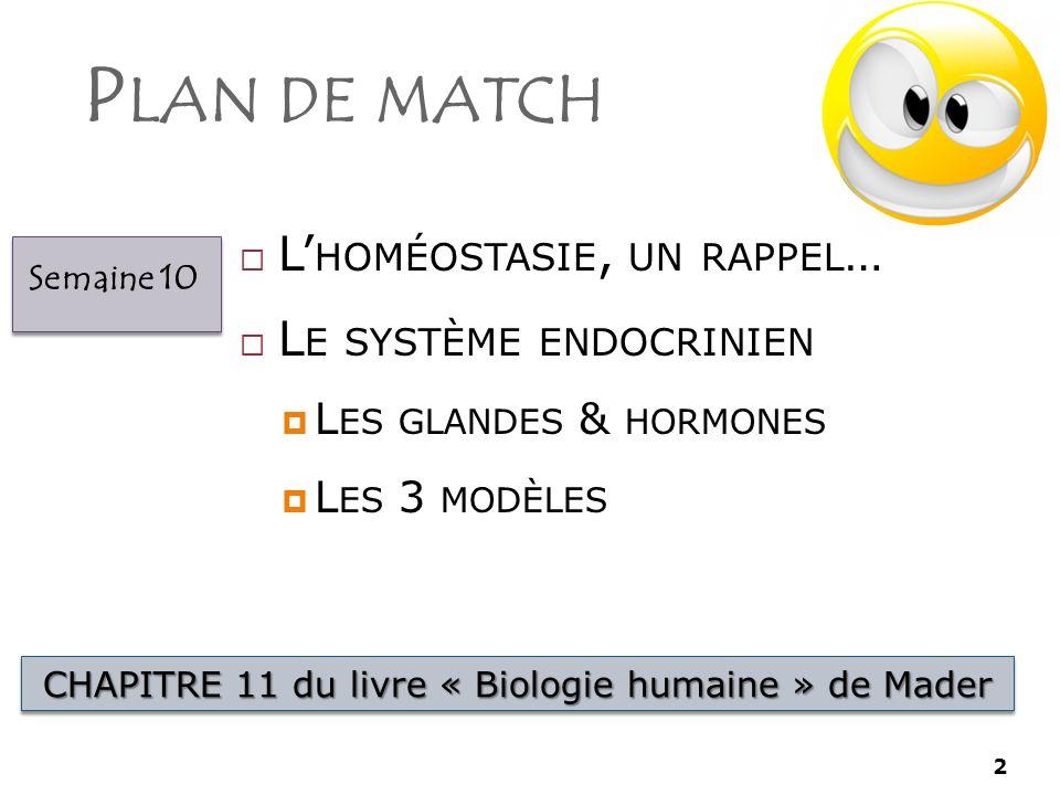 2 P LAN DE MATCH 2 L HOMÉOSTASIE, UN RAPPEL … L E SYSTÈME ENDOCRINIEN L ES GLANDES & HORMONES L ES 3 MODÈLES CHAPITRE 11 du livre « Biologie humaine » de Mader