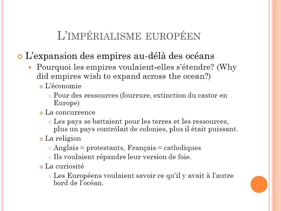 L IMPÉRIALISME EUROPÉEN Lexpansion des empires au-délà des océans Pourquoi les empires voulaient-elles sétendre? (Why did empires wish to expand acros