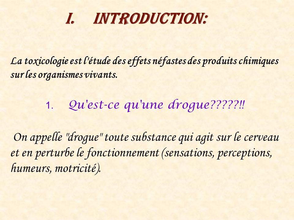 I.Introduction: La toxicologie est l'étude des effets néfastes des produits chimiques sur les organismes vivants. 1. Qu'est-ce qu'une drogue?????!! On