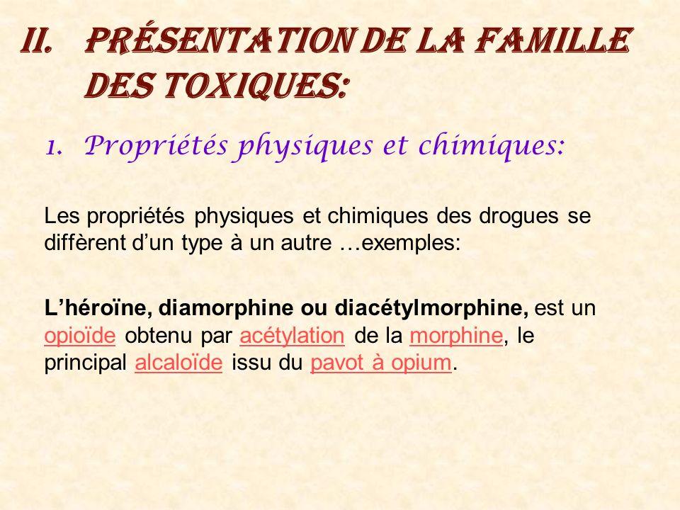 II.Présentation de la famille des toxiques: 1.Propriétés physiques et chimiques: Les propriétés physiques et chimiques des drogues se diffèrent dun ty