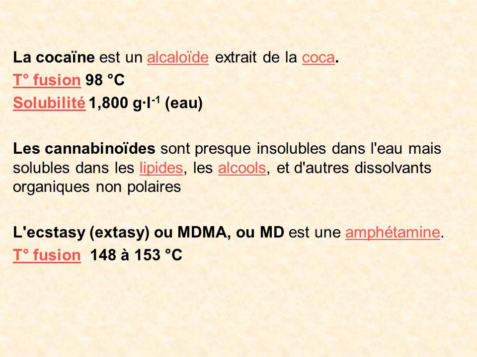 La cocaïne est un alcaloïde extrait de la coca.alcaloïdecoca T° fusionT° fusion 98 °C SolubilitéSolubilité 1,800 g·l -1 (eau) Les cannabinoïdes sont p