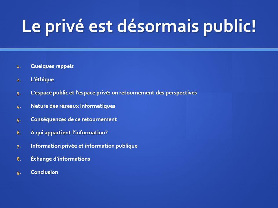 Le privé est désormais public. 1. Quelques rappels 2.