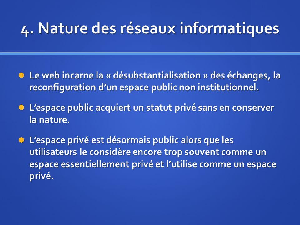 4. Nature des réseaux informatiques Le web incarne la « désubstantialisation » des échanges, la reconfiguration dun espace public non institutionnel.