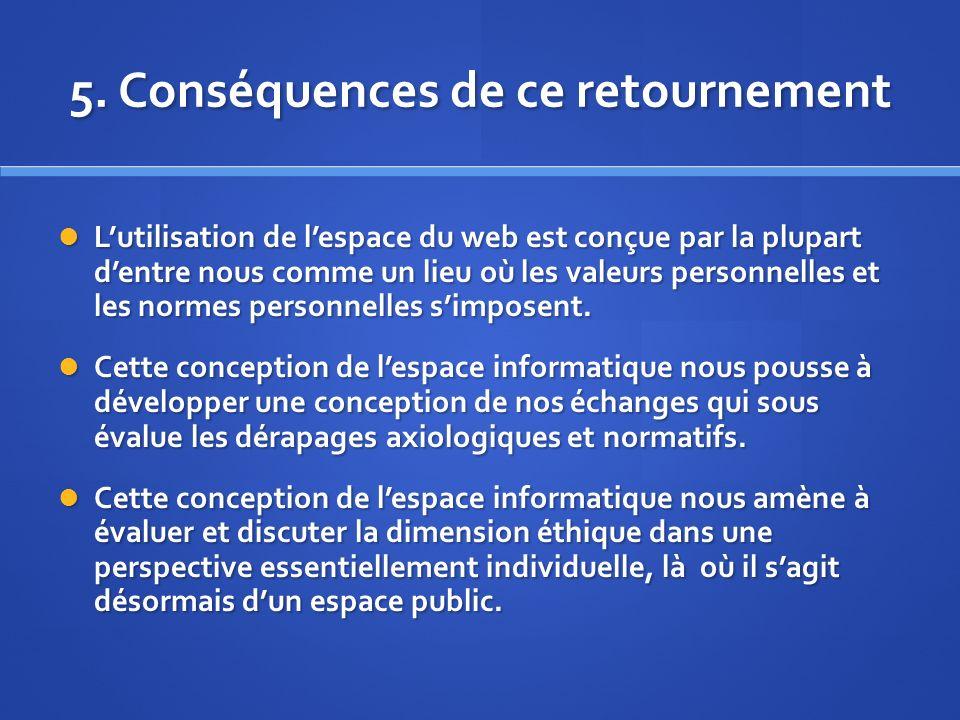 5. Conséquences de ce retournement Lutilisation de lespace du web est conçue par la plupart dentre nous comme un lieu où les valeurs personnelles et l