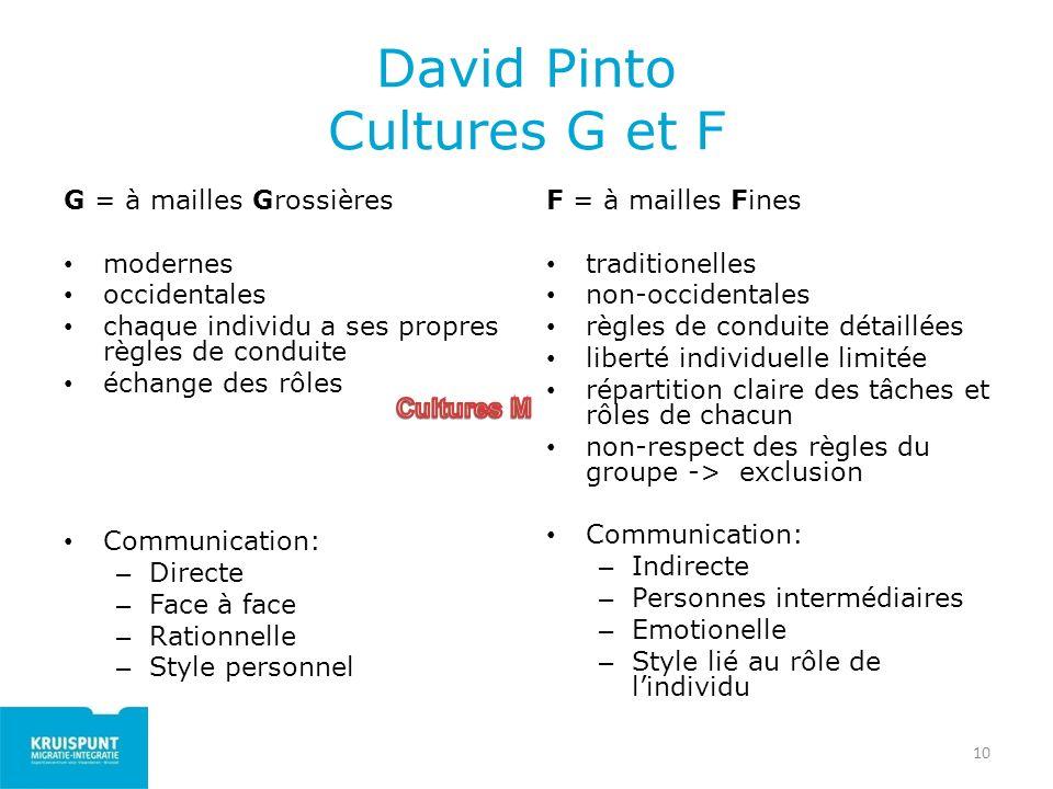 10 David Pinto Cultures G et F G = à mailles Grossières modernes occidentales chaque individu a ses propres règles de conduite échange des rôles Commu