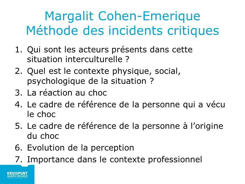 Margalit Cohen-Emerique Méthode des incidents critiques 1.Qui sont les acteurs présents dans cette situation interculturelle ? 2.Quel est le contexte