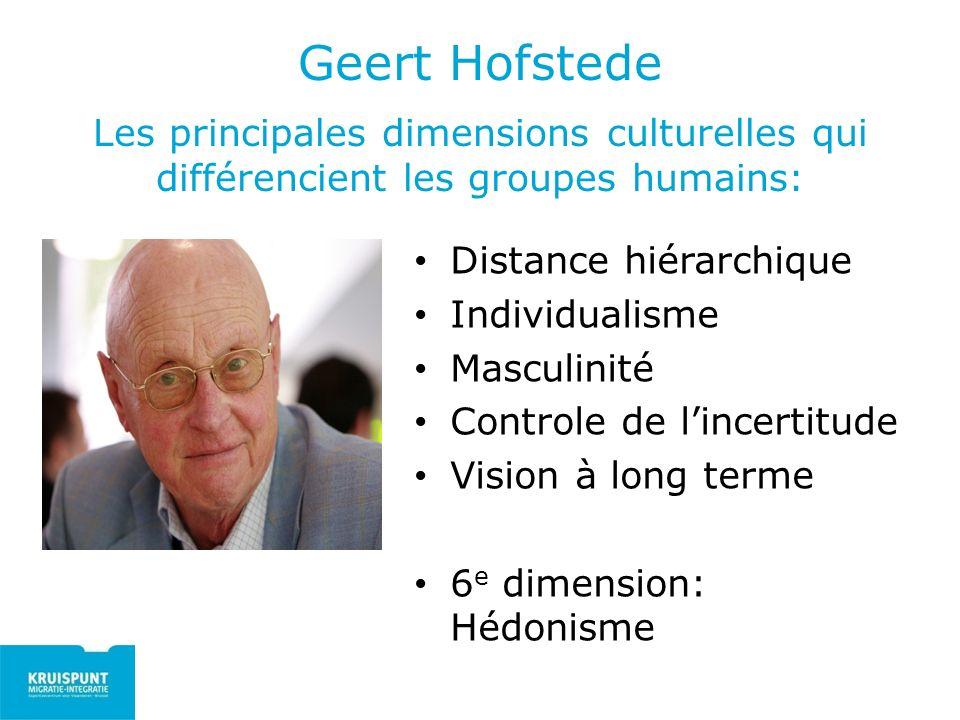Geert Hofstede Les principales dimensions culturelles qui différencient les groupes humains: Distance hiérarchique Individualisme Masculinité Controle