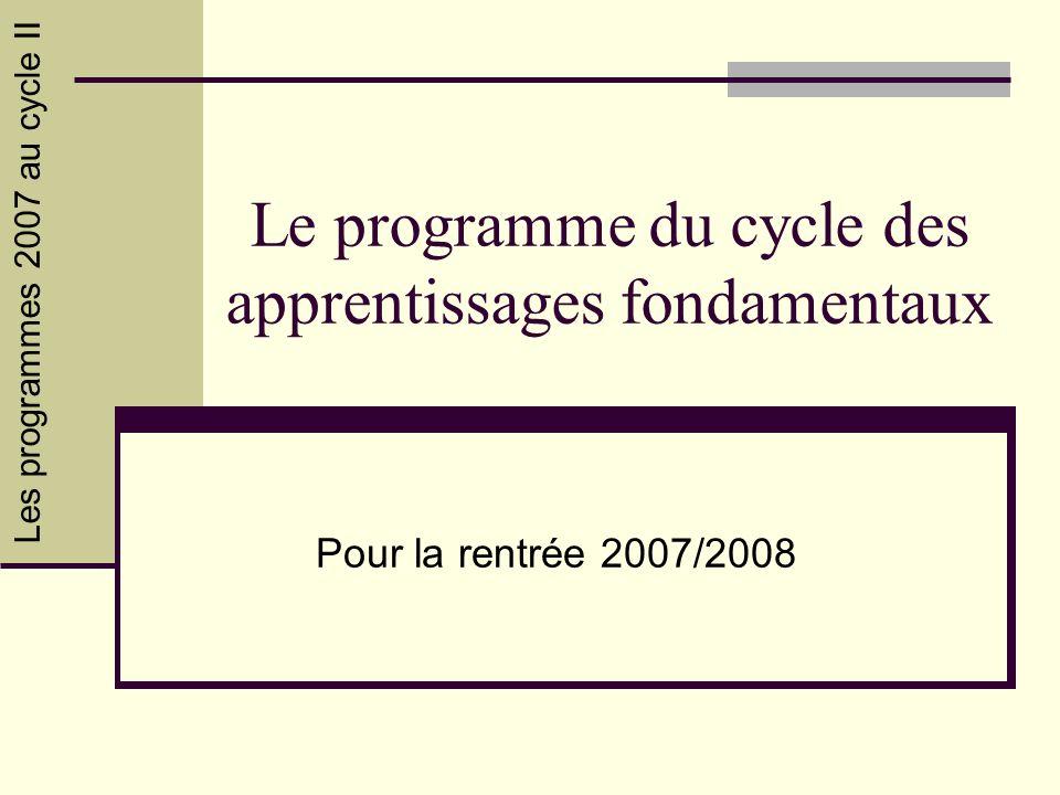 Les programmes 2007 au cycle II Le programme du cycle des apprentissages fondamentaux Pour la rentrée 2007/2008