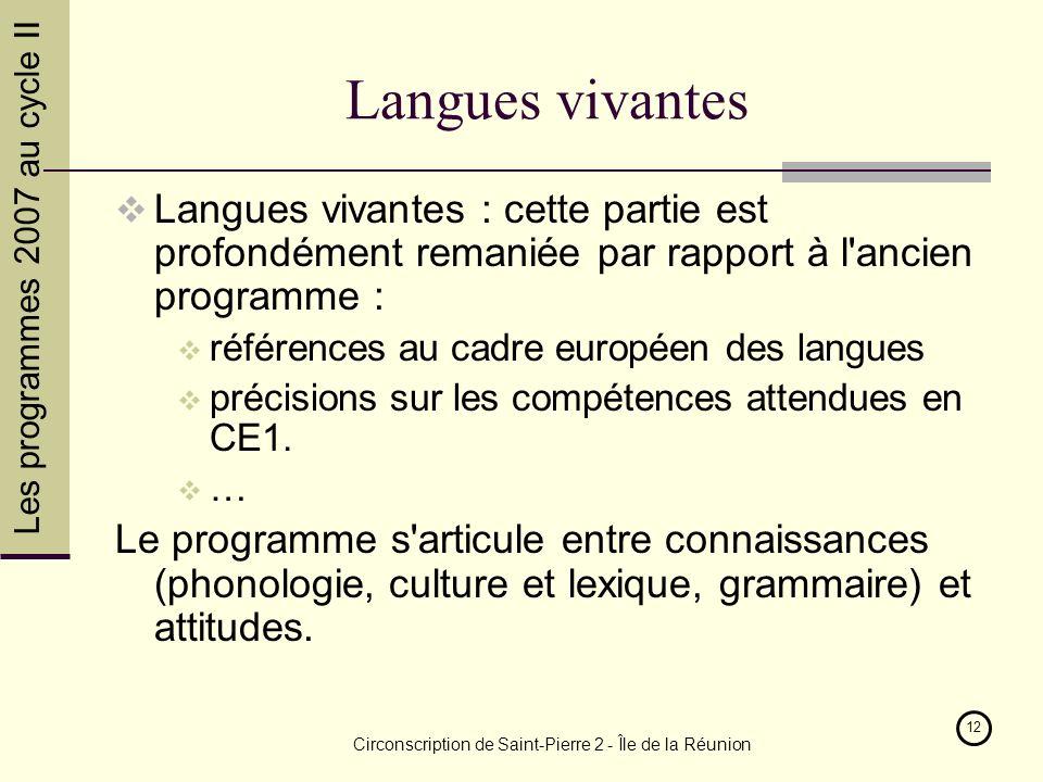 Les programmes 2007 au cycle II Circonscription de Saint-Pierre 2 - Île de la Réunion 12 Langues vivantes Langues vivantes : cette partie est profondément remaniée par rapport à l ancien programme : références au cadre européen des langues précisions sur les compétences attendues en CE1.