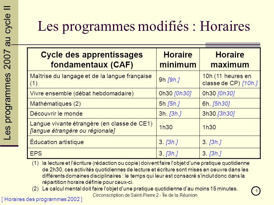 Les programmes 2007 au cycle II Circonscription de Saint-Pierre 2 - Île de la Réunion 5 Les programmes modifiés : Horaires Cycle des apprentissages fondamentaux (CAF) Horaire minimum Horaire maximum Maîtrise du langage et de la langue française (1) 9h [9h.] 10h (11 heures en classe de CP) [10h.] Vivre ensemble (débat hebdomadaire)0h30 [0h30] Mathématiques (2)5h [5h.]6h.