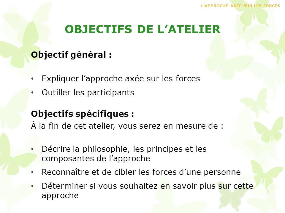 OBJECTIFS DE LATELIER Objectif général : Expliquer lapproche axée sur les forces Outiller les participants Objectifs spécifiques : À la fin de cet ate
