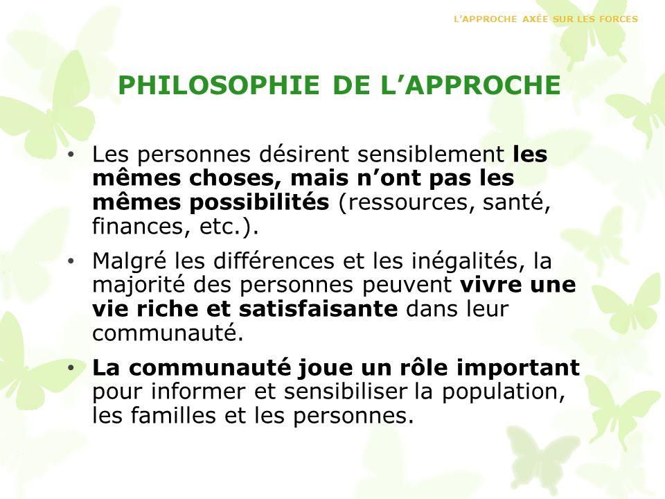 PHILOSOPHIE DE LAPPROCHE Les personnes désirent sensiblement les mêmes choses, mais nont pas les mêmes possibilités (ressources, santé, finances, etc.