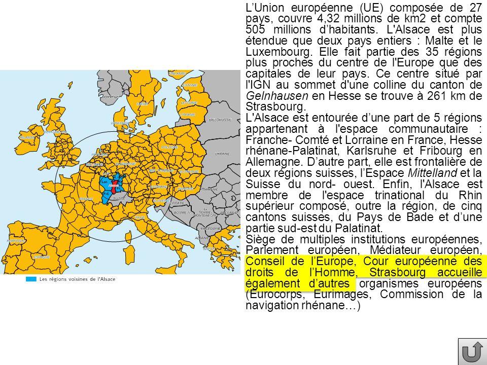 LUnion européenne (UE) composée de 27 pays, couvre 4,32 millions de km2 et compte 505 millions dhabitants.