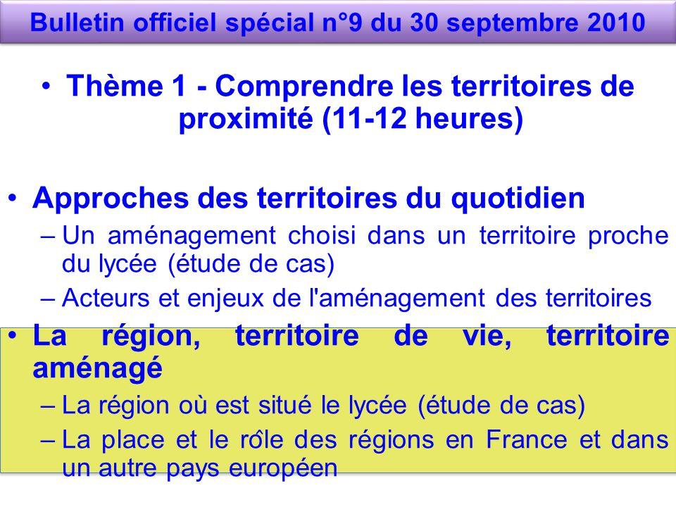 Bulletin officiel spécial n°9 du 30 septembre 2010 Thème 1 - Comprendre les territoires de proximité (11-12 heures) Approches des territoires du quot