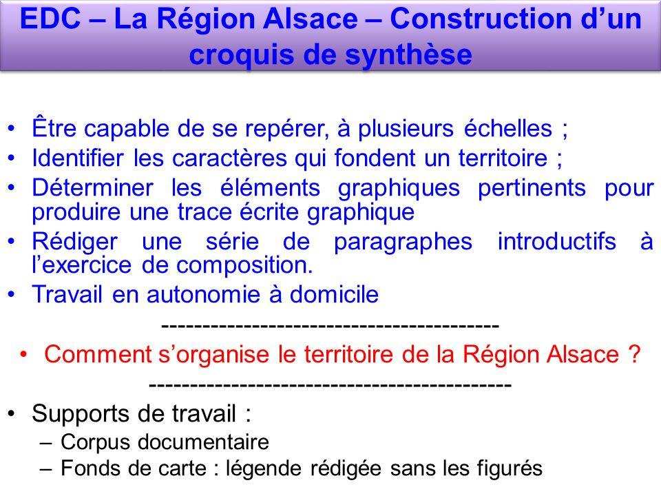 EDC – La Région Alsace – Construction dun croquis de synthèse Être capable de se repérer, à plusieurs échelles ; Identifier les caractères qui fondent un territoire ; Déterminer les éléments graphiques pertinents pour produire une trace écrite graphique Rédiger une série de paragraphes introductifs à lexercice de composition.