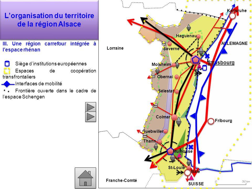 Lorganisation du territoire de la région Alsace III. Une région carrefour intégrée à lespace rhénan Siège dinstitutions européennes Espaces de coopéra