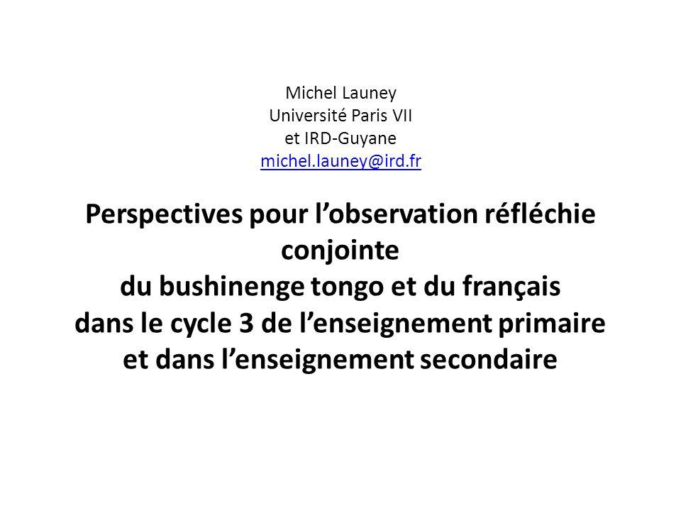 Michel Launey Université Paris VII et IRD-Guyane michel.launey@ird.fr Perspectives pour lobservation réfléchie conjointe du bushinenge tongo et du fra