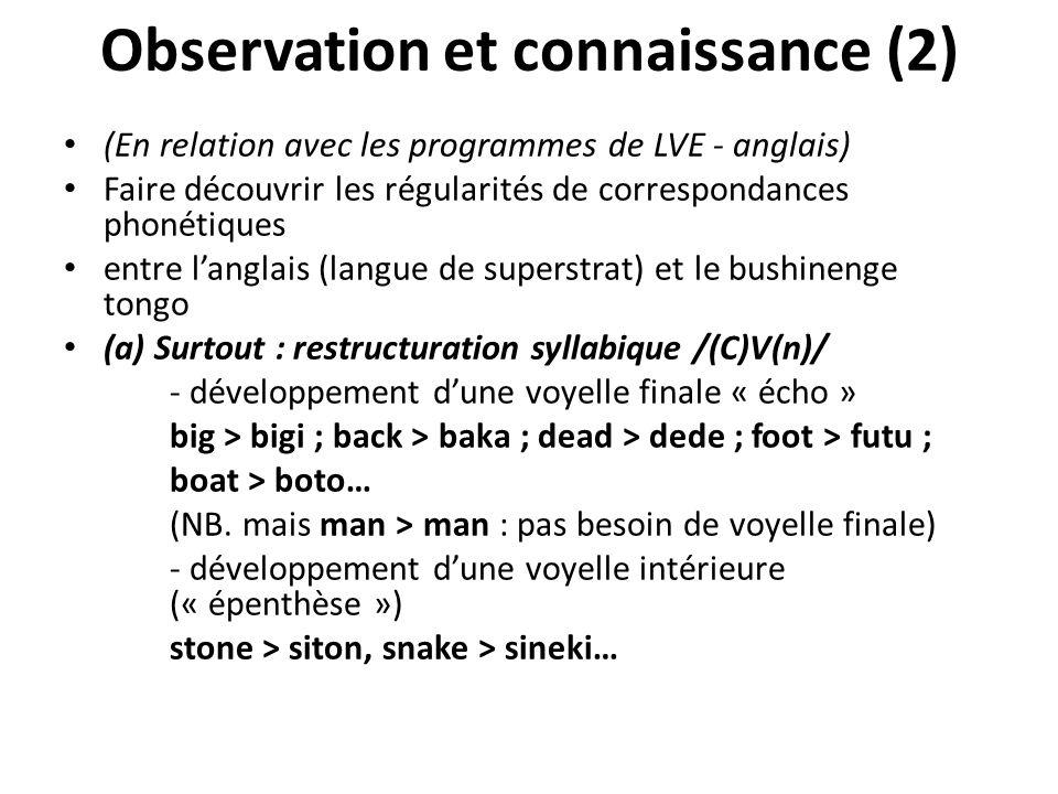 Observation et connaissance (2) (En relation avec les programmes de LVE - anglais) Faire découvrir les régularités de correspondances phonétiques entr