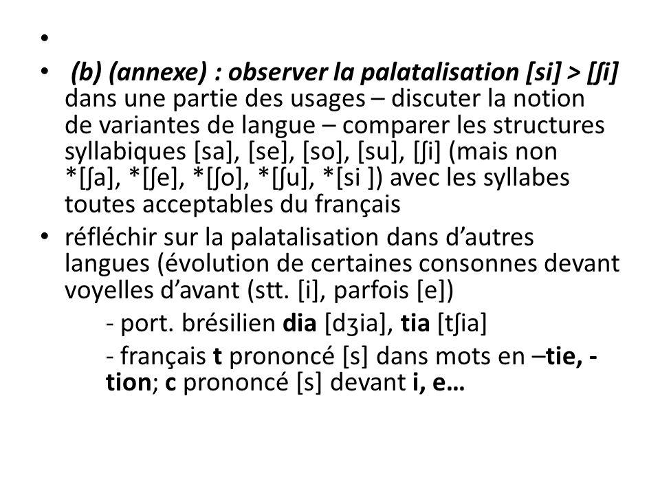 (b) (annexe) : observer la palatalisation [si] > [ʃi] dans une partie des usages – discuter la notion de variantes de langue – comparer les structures