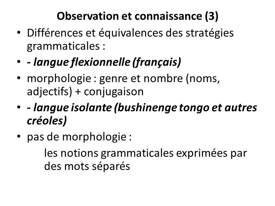 Observation et connaissance (3) Différences et équivalences des stratégies grammaticales : - langue flexionnelle (français) morphologie : genre et nom