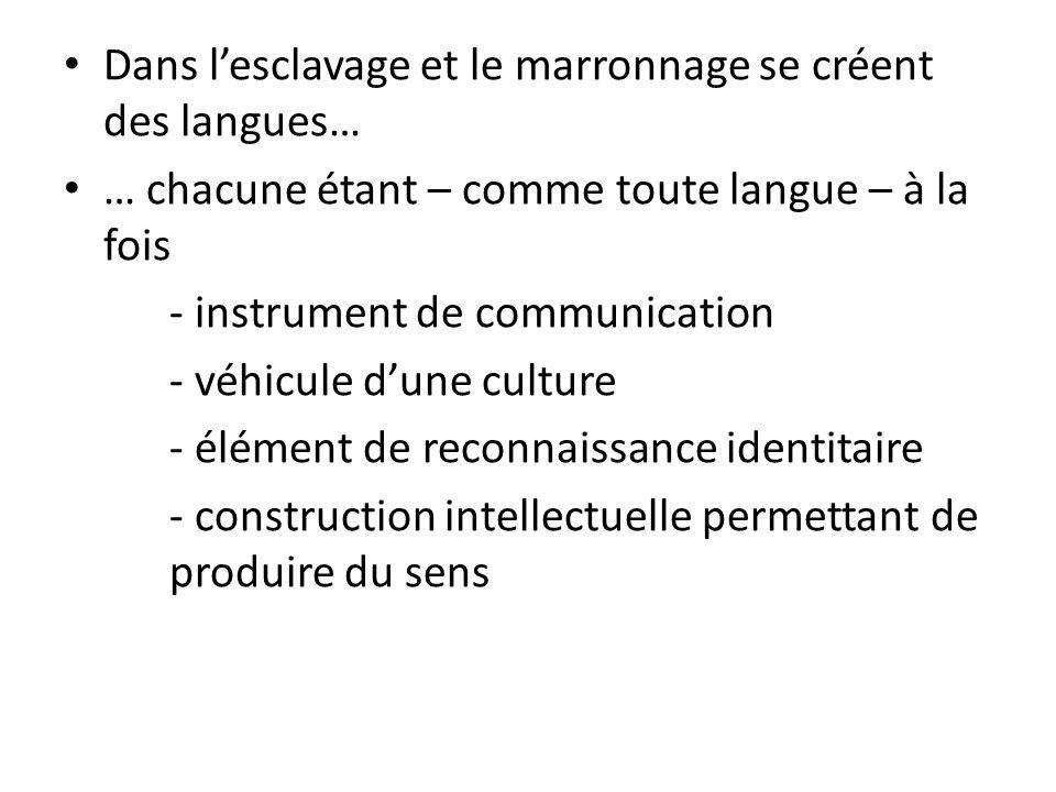 Dans lesclavage et le marronnage se créent des langues… … chacune étant – comme toute langue – à la fois - instrument de communication - véhicule dune