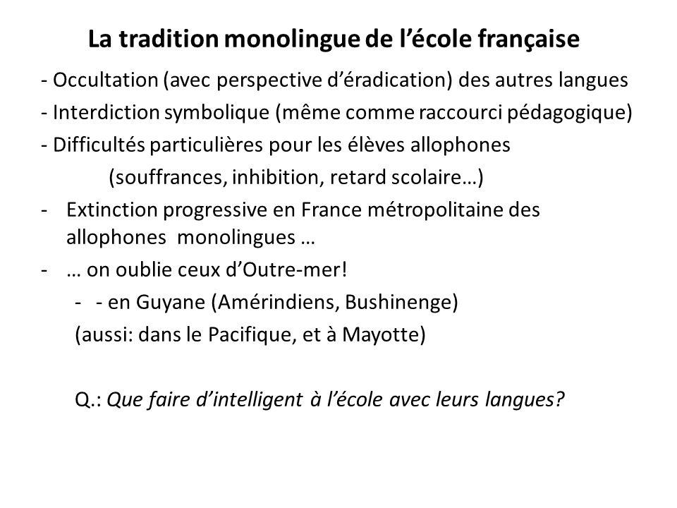 La tradition monolingue de lécole française - Occultation (avec perspective déradication) des autres langues - Interdiction symbolique (même comme rac