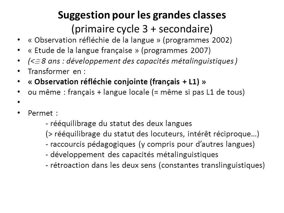 Suggestion pour les grandes classes (primaire cycle 3 + secondaire) « Observation réfléchie de la langue » (programmes 2002) « Etude de la langue fran