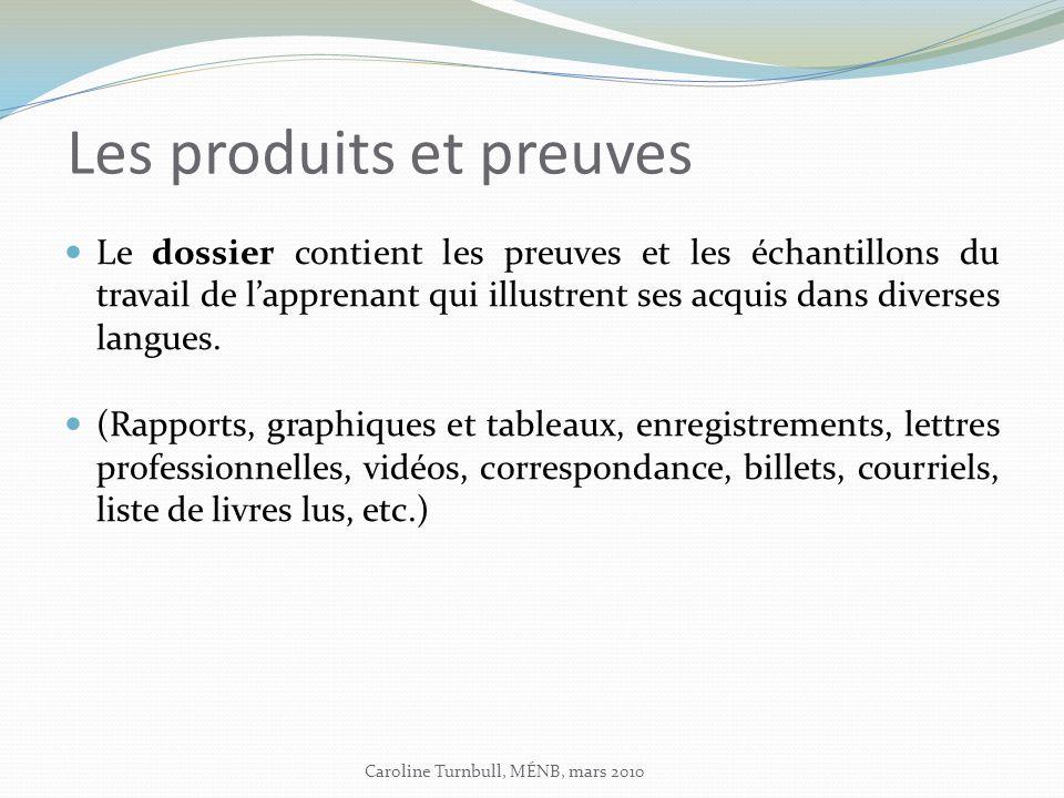 Les produits et preuves Le dossier contient les preuves et les échantillons du travail de lapprenant qui illustrent ses acquis dans diverses langues.