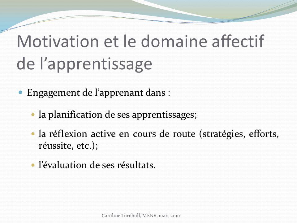 Motivation et le domaine affectif de lapprentissage Engagement de lapprenant dans : la planification de ses apprentissages; la réflexion active en cours de route (stratégies, efforts, réussite, etc.); lévaluation de ses résultats.