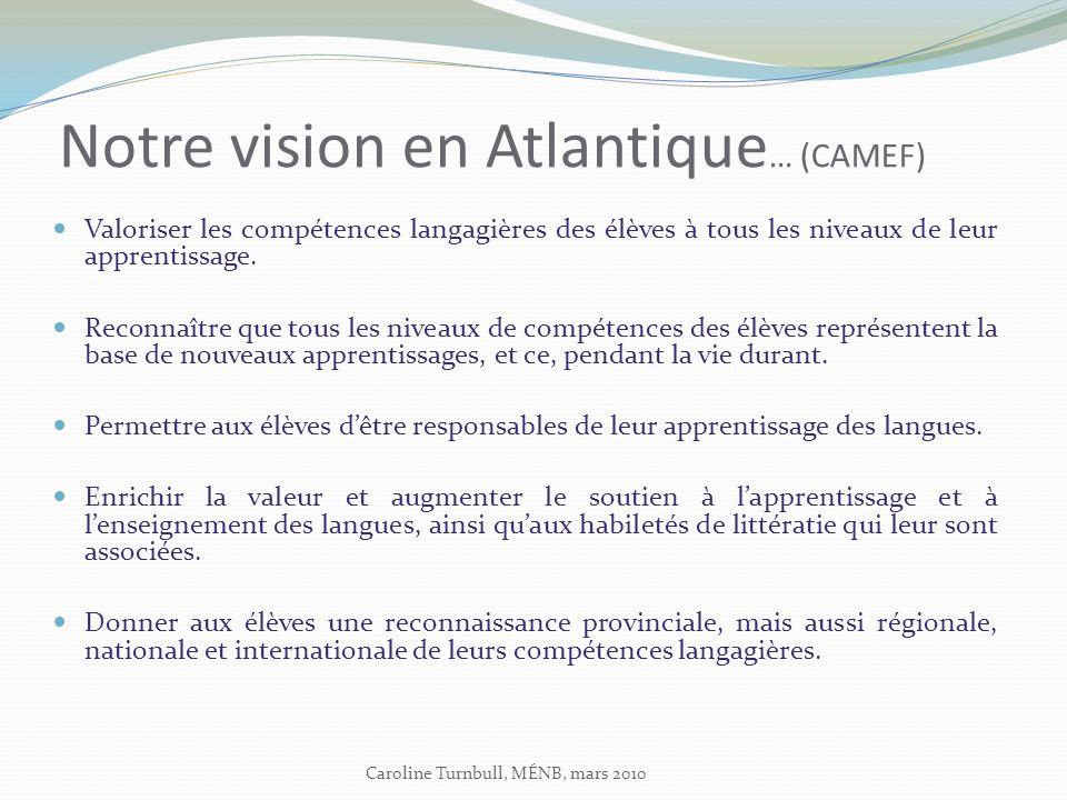 Notre vision en Atlantique … (CAMEF) Valoriser les compétences langagières des élèves à tous les niveaux de leur apprentissage.
