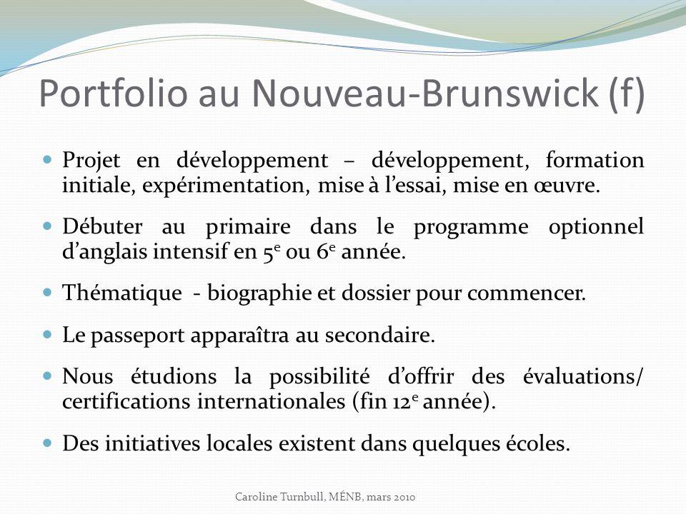 Portfolio au Nouveau-Brunswick (f) Projet en développement – développement, formation initiale, expérimentation, mise à lessai, mise en œuvre.