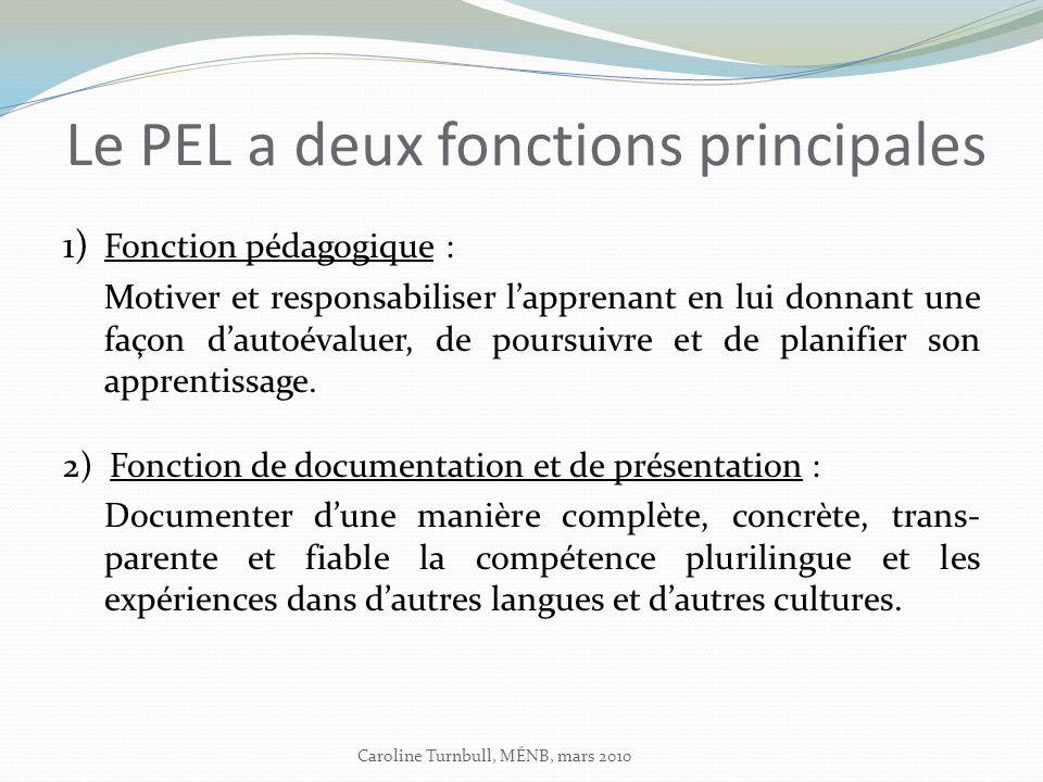 Le PEL a deux fonctions principales 1) Fonction pédagogique : Motiver et responsabiliser lapprenant en lui donnant une façon dautoévaluer, de poursuivre et de planifier son apprentissage.