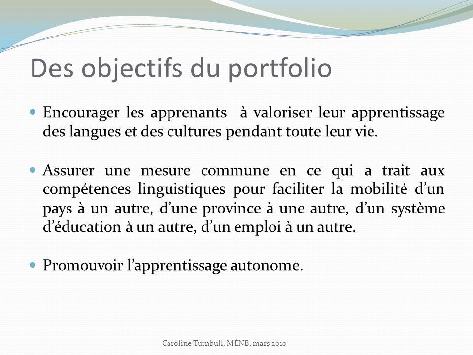 En plus, chaque portfolio est adapté pour répondre aux besoins locaux selon les priorités dun programme ou système déducation et selon lâge ou le niveau linguistique de lapprenant.