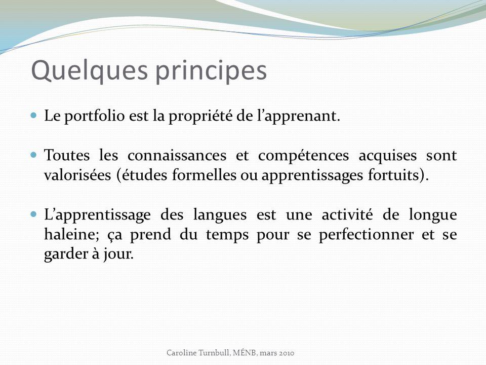 Quelques principes Le portfolio est la propriété de lapprenant.