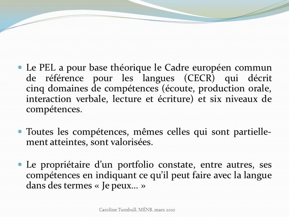 Le PEL a pour base théorique le Cadre européen commun de référence pour les langues (CECR) qui décrit cinq domaines de compétences (écoute, production orale, interaction verbale, lecture et écriture) et six niveaux de compétences.