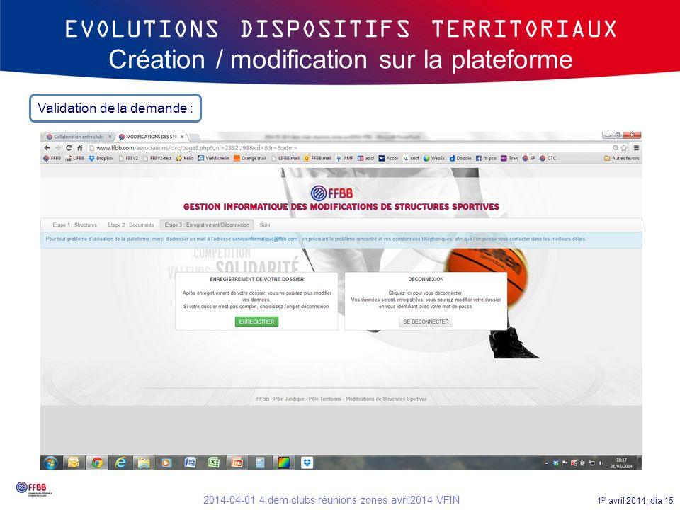 1 er avril 2014, dia 15 2014-04-01 4 dem clubs réunions zones avril2014 VFIN EVOLUTIONS DISPOSITIFS TERRITORIAUX Création / modification sur la platef