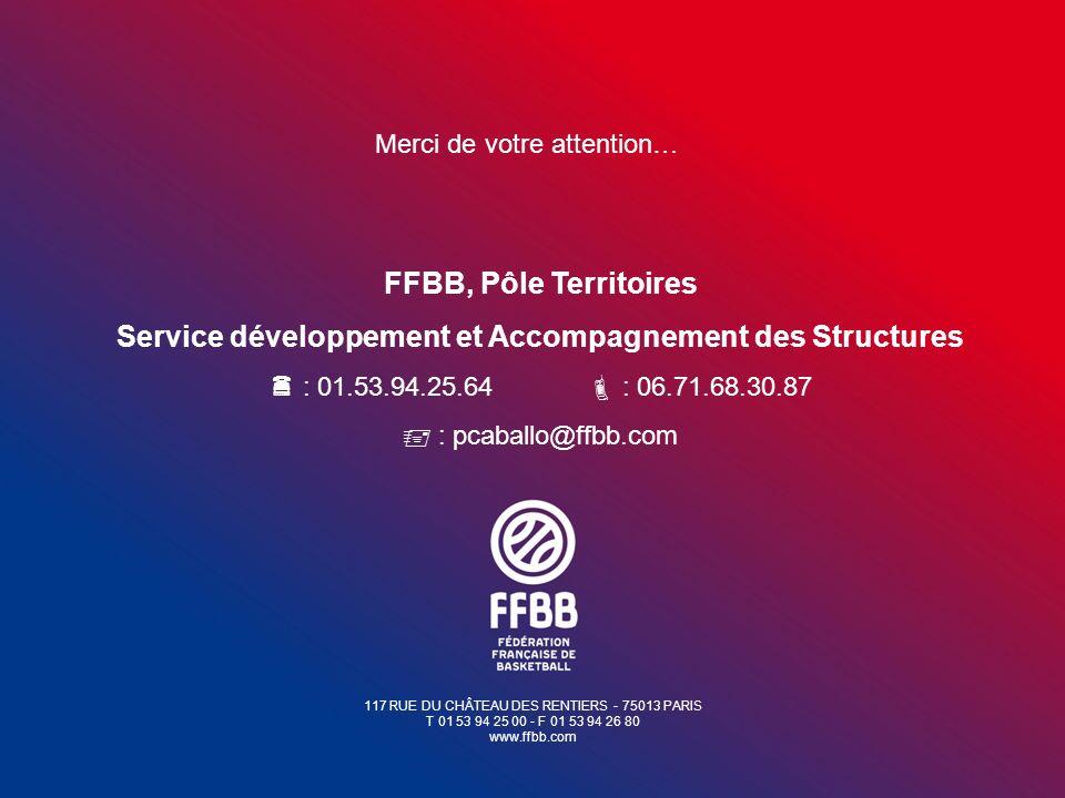 117 RUE DU CHÂTEAU DES RENTIERS - 75013 PARIS T 01 53 94 25 00 - F 01 53 94 26 80 www.ffbb.com Merci de votre attention… FFBB, Pôle Territoires Servic
