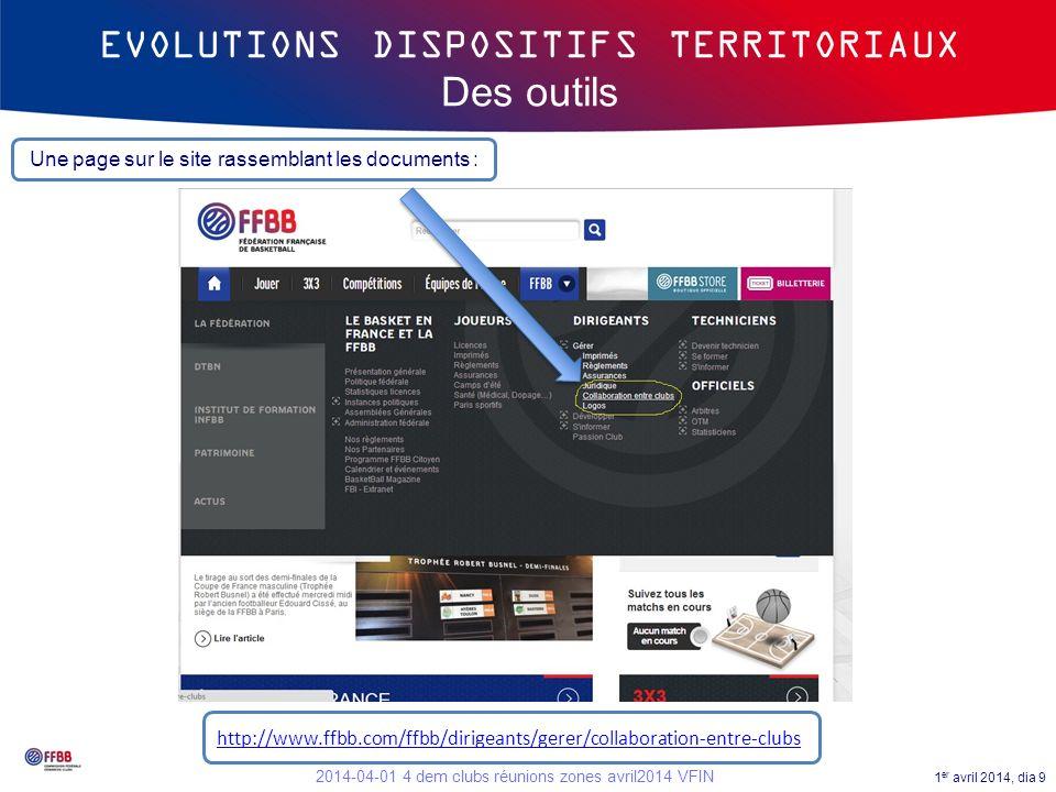 1 er avril 2014, dia 10 2014-04-01 4 dem clubs réunions zones avril2014 VFIN EVOLUTIONS DISPOSITIFS TERRITORIAUX Des outils http://www.ffbb.com/sites/default/files/2014-03-18_4_demarche_clubs_-_manuel_pedagogique_ctc_et_dispositifs_territoriaux_2014-2015_vfinale.pdf Disponible sur le site à ladresse : Un tutoriel :