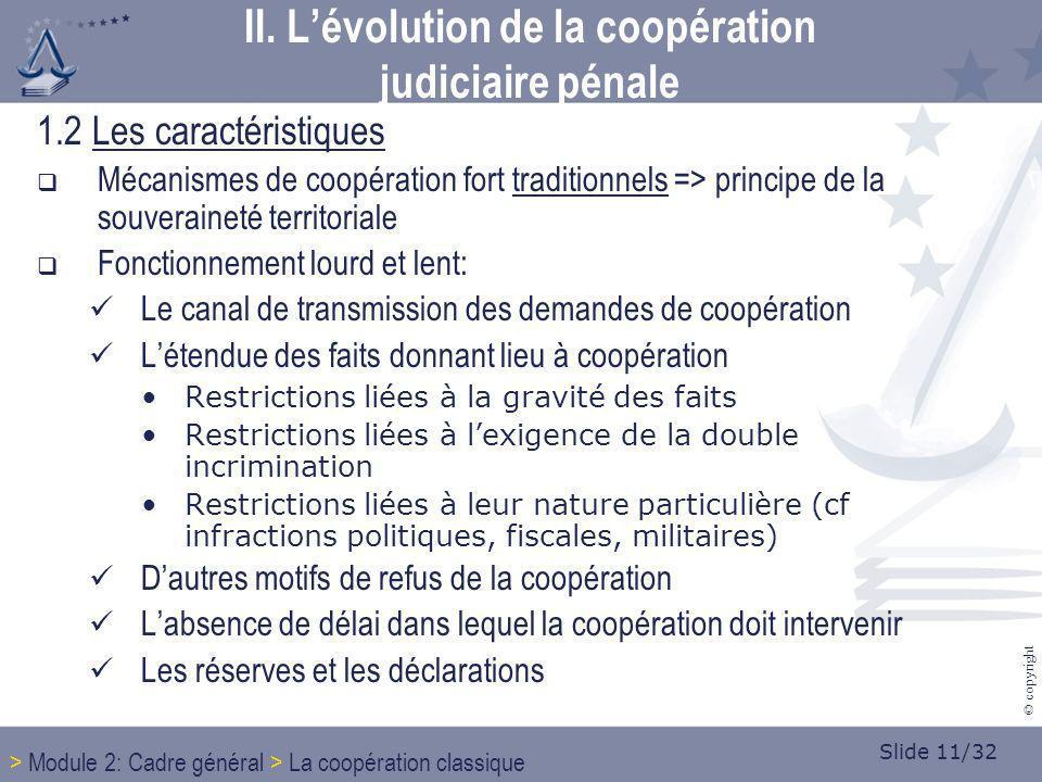 Slide 11/32 © copyright 1.2 Les caractéristiques Mécanismes de coopération fort traditionnels => principe de la souveraineté territoriale Fonctionneme