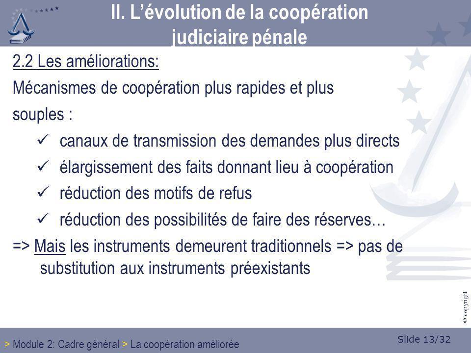 Slide 13/32 © copyright 2.2 Les améliorations: Mécanismes de coopération plus rapides et plus souples : canaux de transmission des demandes plus direc