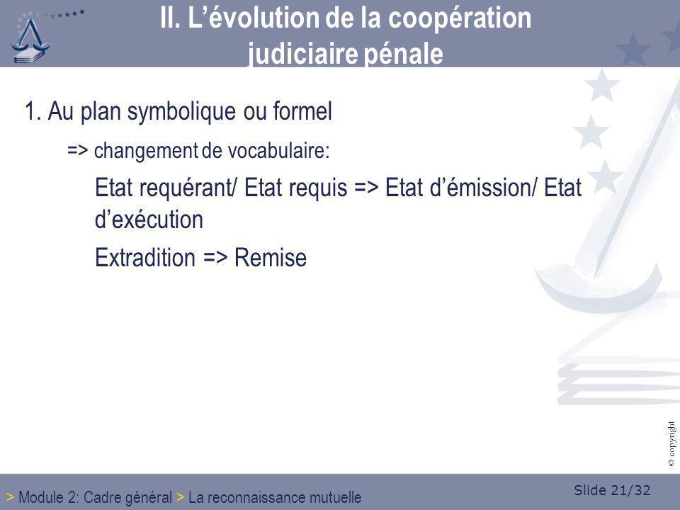 Slide 21/32 © copyright 1. Au plan symbolique ou formel => changement de vocabulaire: Etat requérant/ Etat requis => Etat démission/ Etat dexécution E