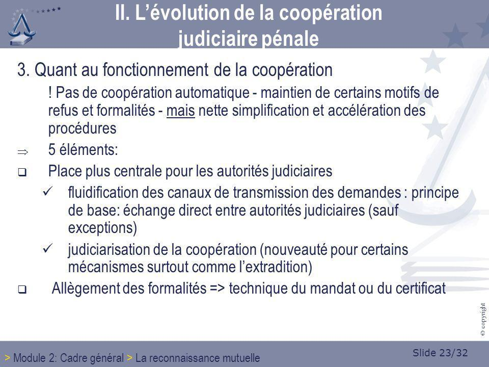 Slide 23/32 © copyright 3. Quant au fonctionnement de la coopération ! Pas de coopération automatique - maintien de certains motifs de refus et formal