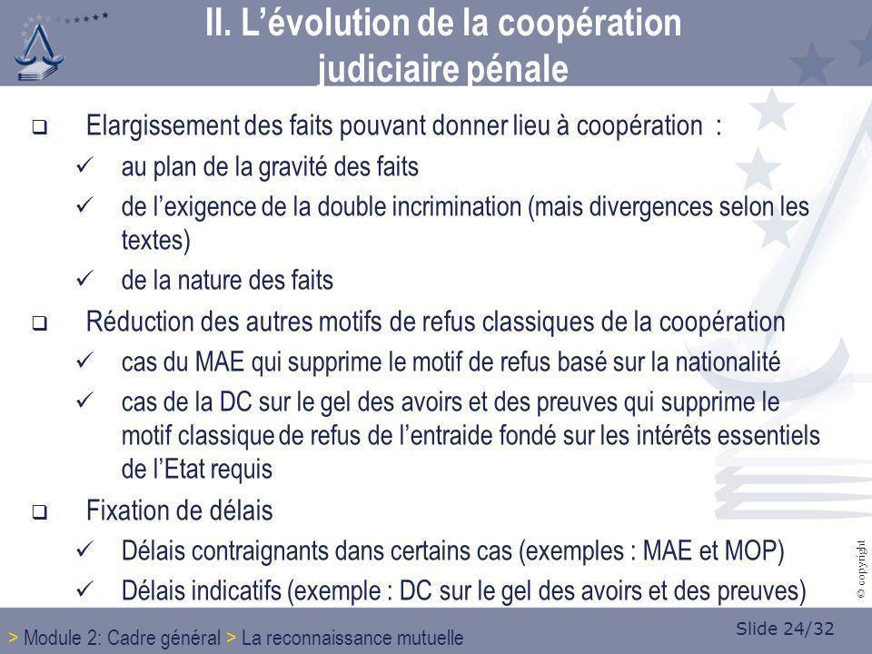 Slide 24/32 © copyright Elargissement des faits pouvant donner lieu à coopération : au plan de la gravité des faits de lexigence de la double incrimin