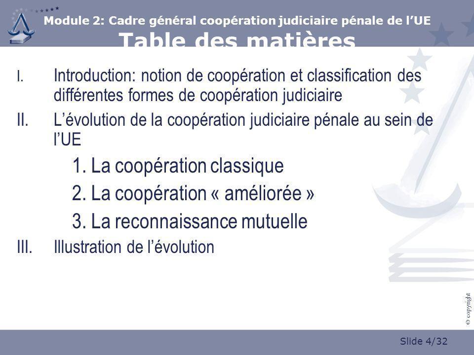 Slide 4/32 © copyright Module 2: Cadre général coopération judiciaire pénale de lUE Table des matières I. Introduction: notion de coopération et class