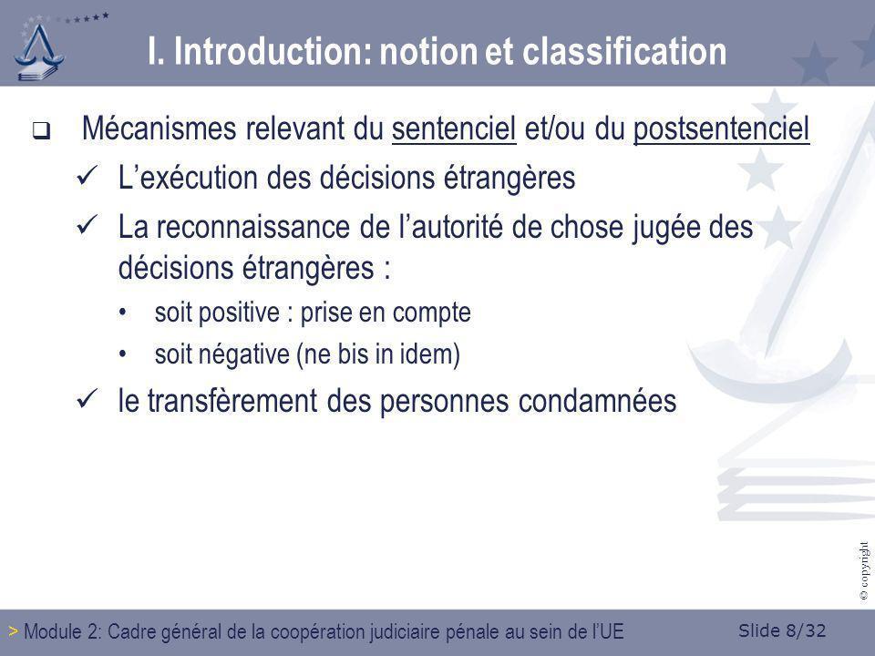 Slide 8/32 © copyright Mécanismes relevant du sentenciel et/ou du postsentenciel Lexécution des décisions étrangères La reconnaissance de lautorité de