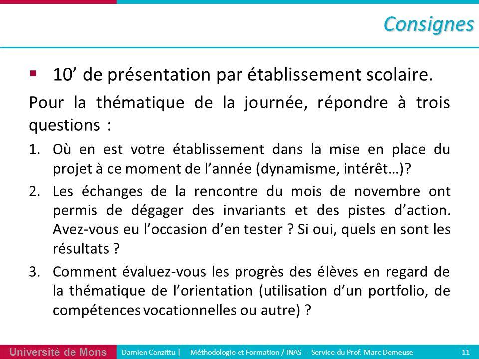 Université de Mons Damien Canzittu   Méthodologie et Formation / INAS - Service du Prof. Marc Demeuse 11Consignes 10 de présentation par établissement