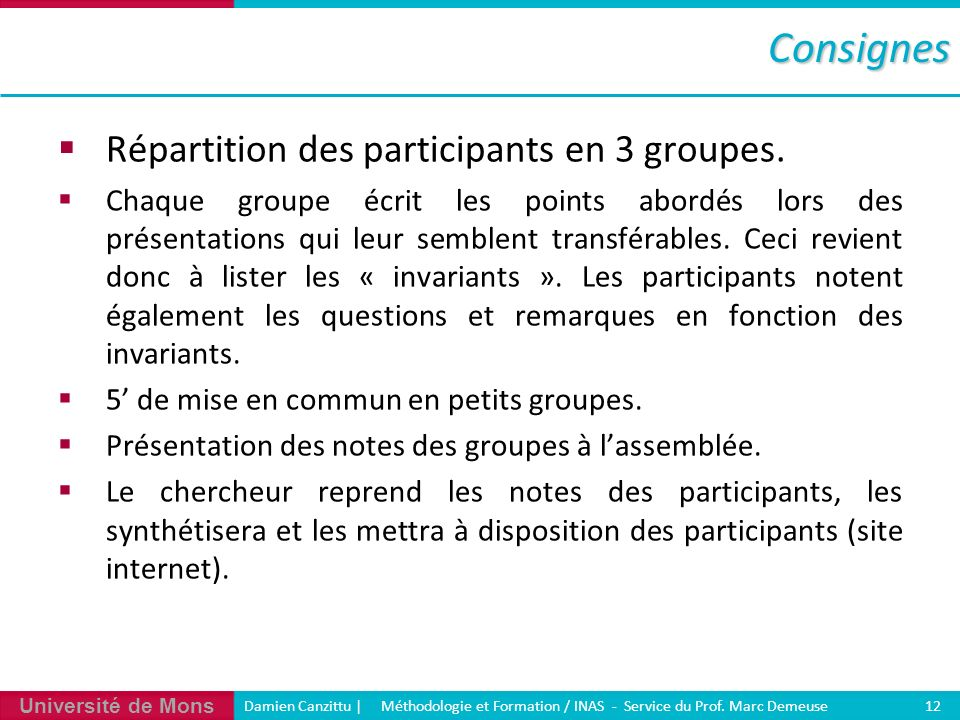 Université de Mons Damien Canzittu   Méthodologie et Formation / INAS - Service du Prof. Marc Demeuse 12Consignes Répartition des participants en 3 gr