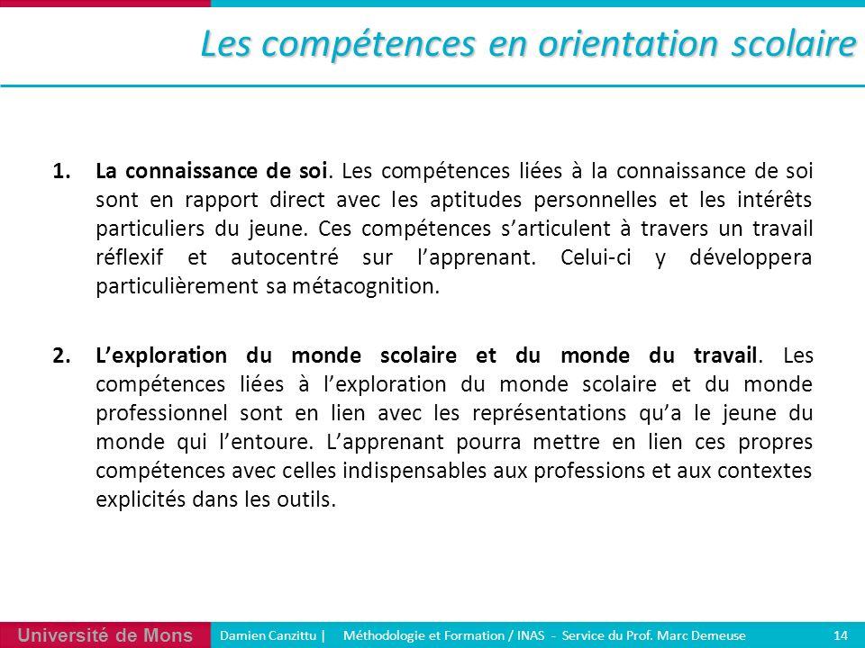 Université de Mons Damien Canzittu   Méthodologie et Formation / INAS - Service du Prof. Marc Demeuse 14 Les compétences en orientation scolaire 1.La